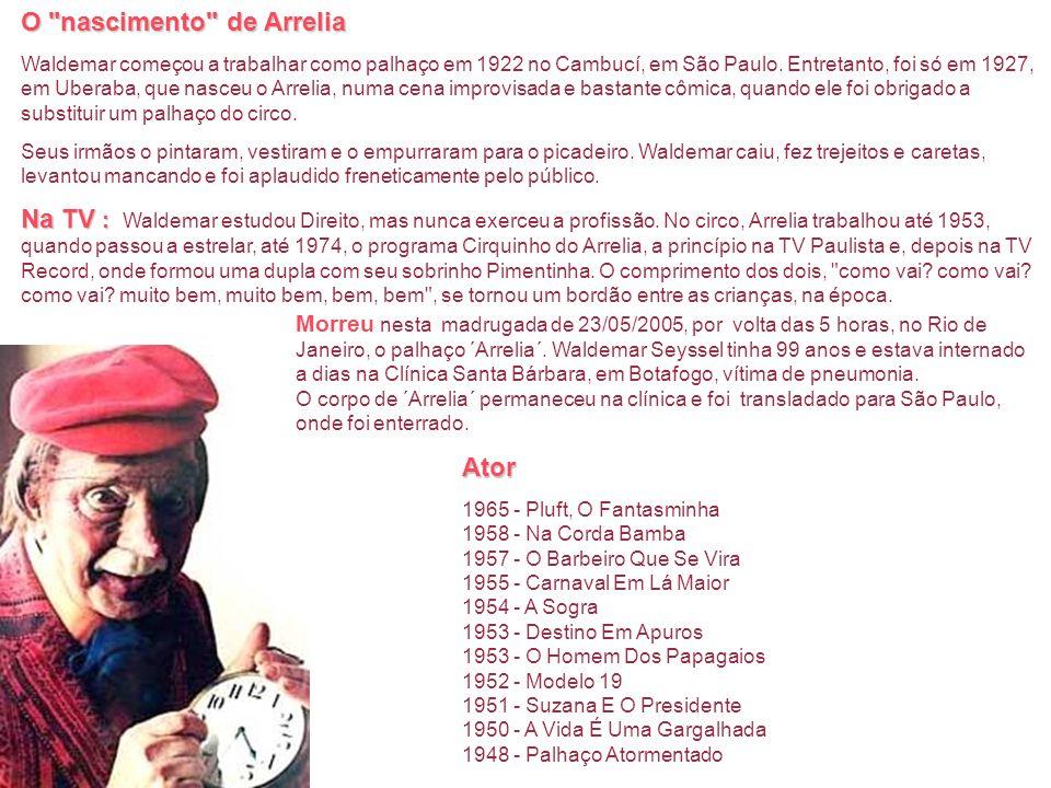 Biografia Arrelia Nome Completo: Waldemar Seyssell Natural de: Jaguariaiva, PR, Brasil Nascimento: 31 de dezembro de 1905 Waldemar Seyssel nasceu em J