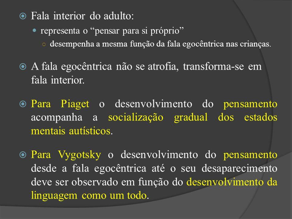Fala interior do adulto: representa o pensar para si próprio desempenha a mesma função da fala egocêntrica nas crianças. A fala egocêntrica não se atr