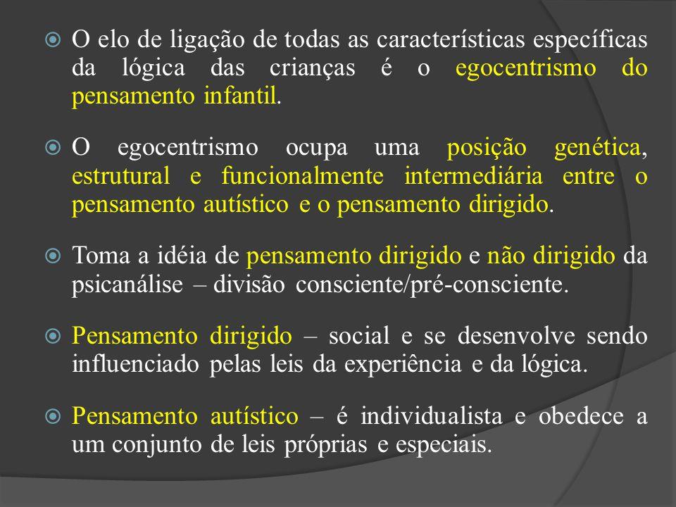 O elo de ligação de todas as características específicas da lógica das crianças é o egocentrismo do pensamento infantil. O egocentrismo ocupa uma posi