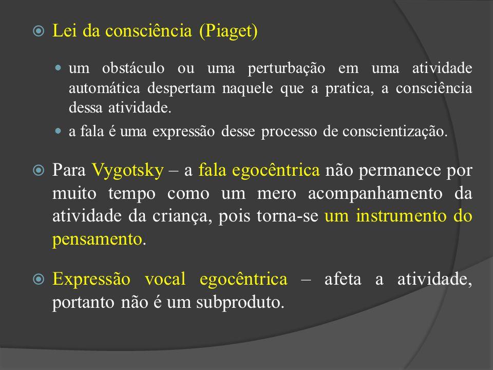 Lei da consciência (Piaget) um obstáculo ou uma perturbação em uma atividade automática despertam naquele que a pratica, a consciência dessa atividade