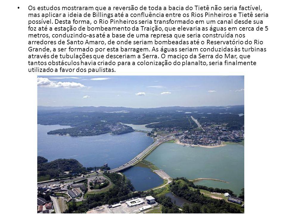 Os estudos mostraram que a reversão de toda a bacia do Tietê não seria factível, mas aplicar a ideia de Billings até a confluência entre os Rios Pinhe