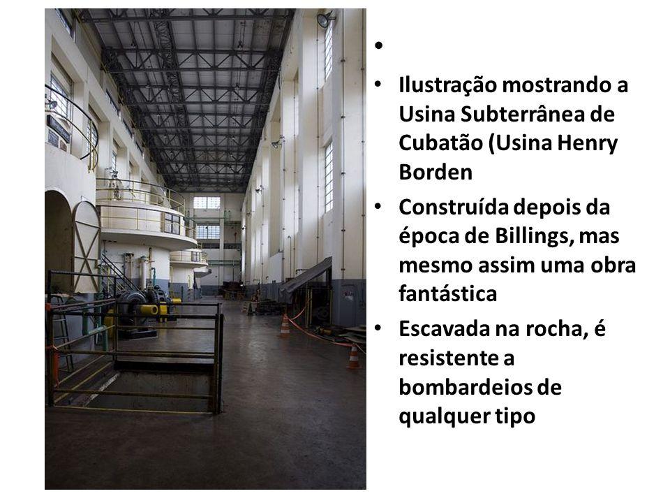 Ilustração mostrando a Usina Subterrânea de Cubatão (Usina Henry Borden Construída depois da época de Billings, mas mesmo assim uma obra fantástica Es