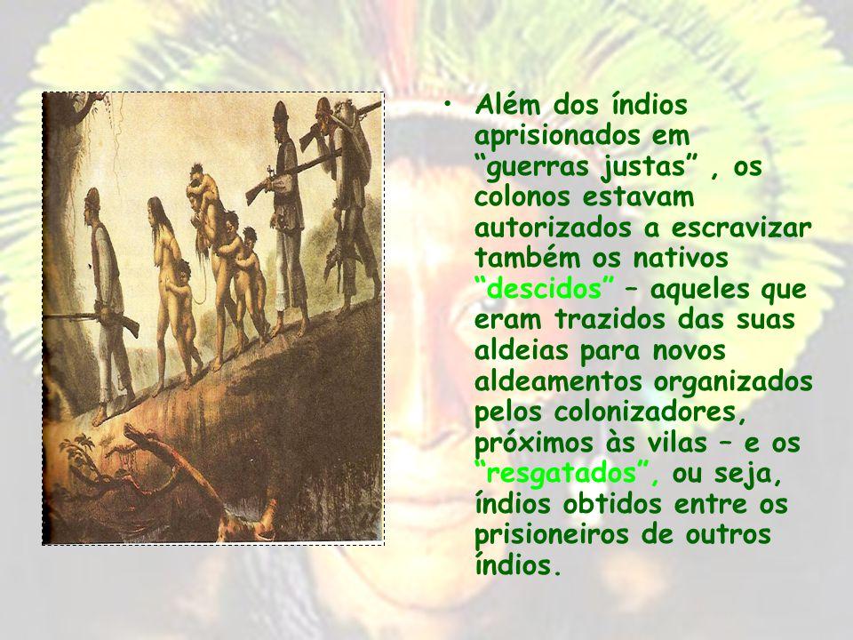 Os portugueses procuraram dominar os índios através da guerra justa, do resgate ou do descimento guerra justa – designava a luta contra grupos que não