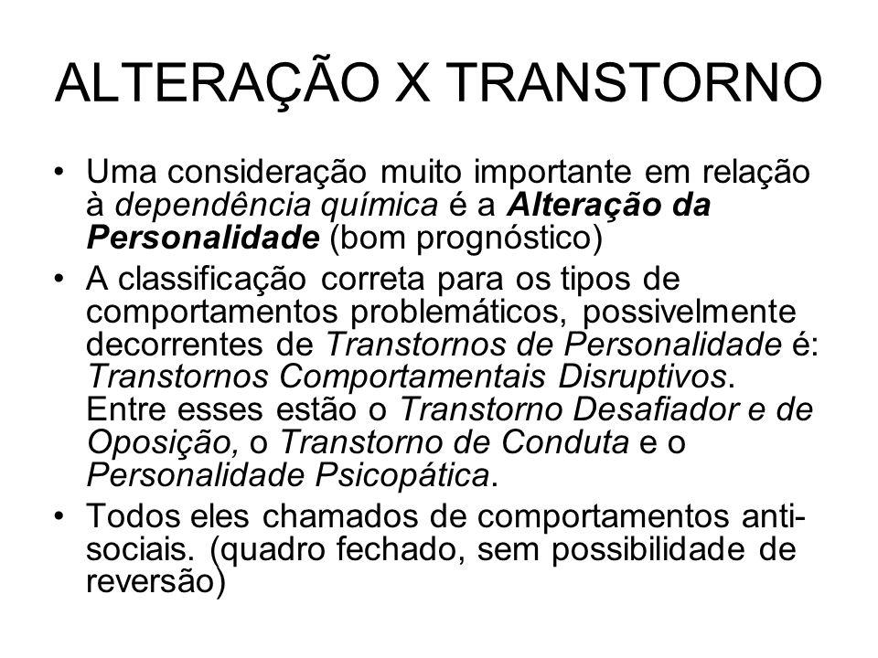 ALTERAÇÃO X TRANSTORNO Uma consideração muito importante em relação à dependência química é a Alteração da Personalidade (bom prognóstico) A classific