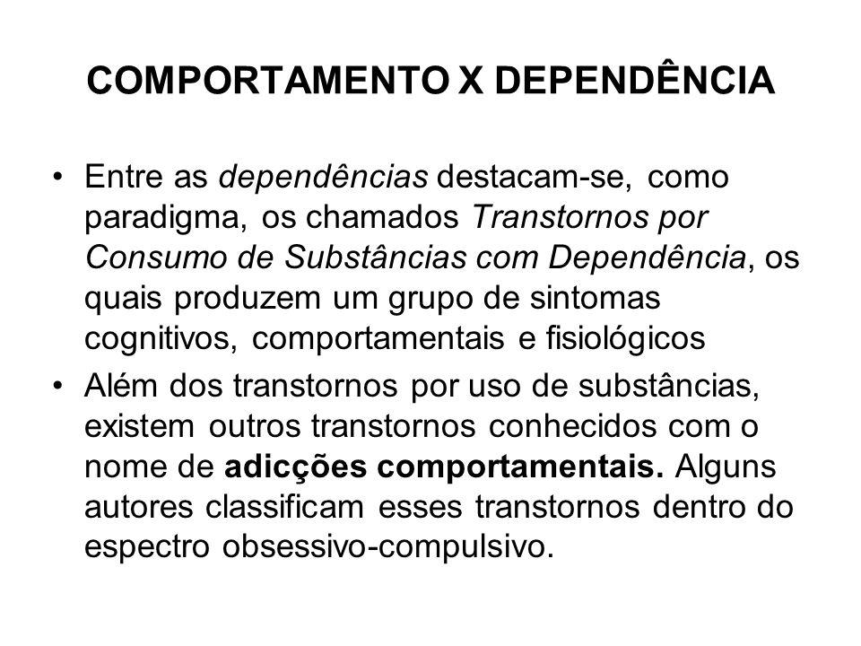 COMPORTAMENTO X DEPENDÊNCIA Entre as dependências destacam-se, como paradigma, os chamados Transtornos por Consumo de Substâncias com Dependência, os