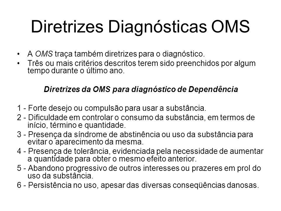 Diretrizes Diagnósticas OMS A OMS traça também diretrizes para o diagnóstico. Três ou mais critérios descritos terem sido preenchidos por algum tempo
