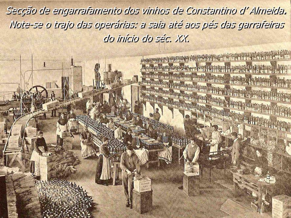 Secção de engarrafamento dos vinhos de Constantino d Almeida. Note-se o trajo das operárias: a saia até aos pés das garrafeiras do início do séc. XX.