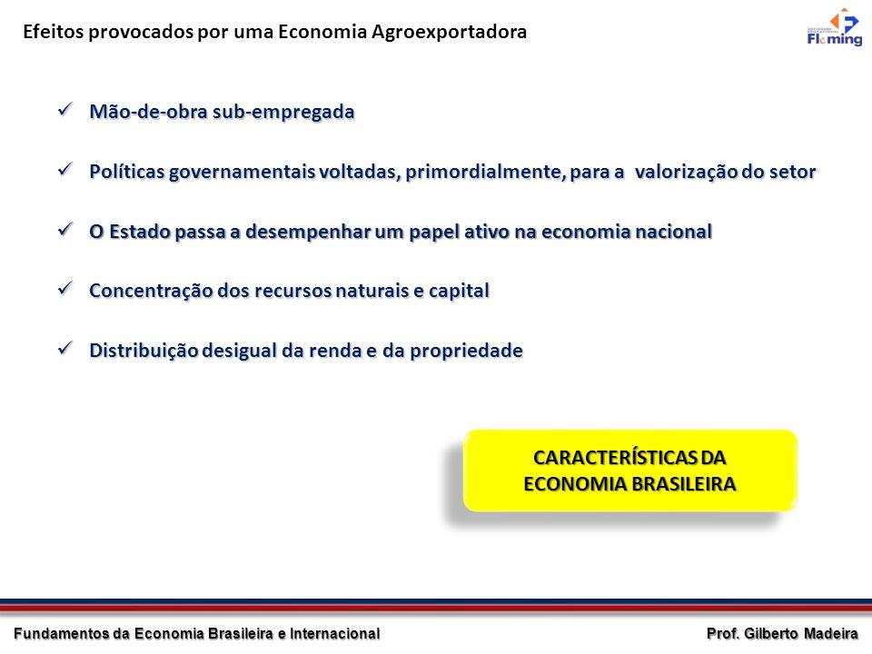 Prof. Gilberto Madeira Fundamentos da Economia Brasileira e Internacional Efeitos provocados por uma Economia Agroexportadora Mão-de-obra sub-empregad