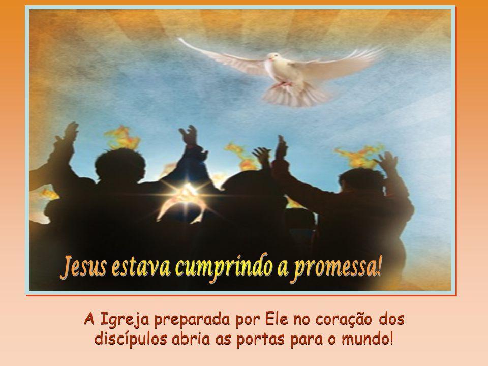 ... apareceu-lhes línguas de fogo que se repartiram e repousaram sobre cada um deles. Ficaram todos cheios do Espírito Santo... (At. 2,2-4)... aparece