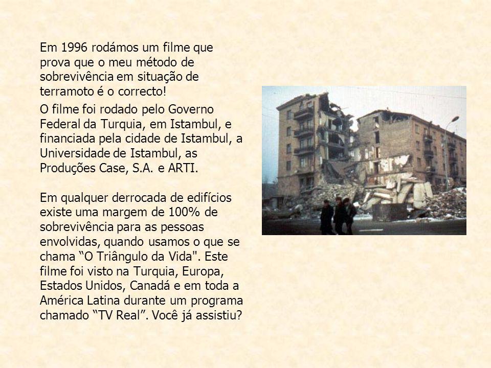 Em 1996 rodámos um filme que prova que o meu método de sobrevivência em situação de terramoto é o correcto.