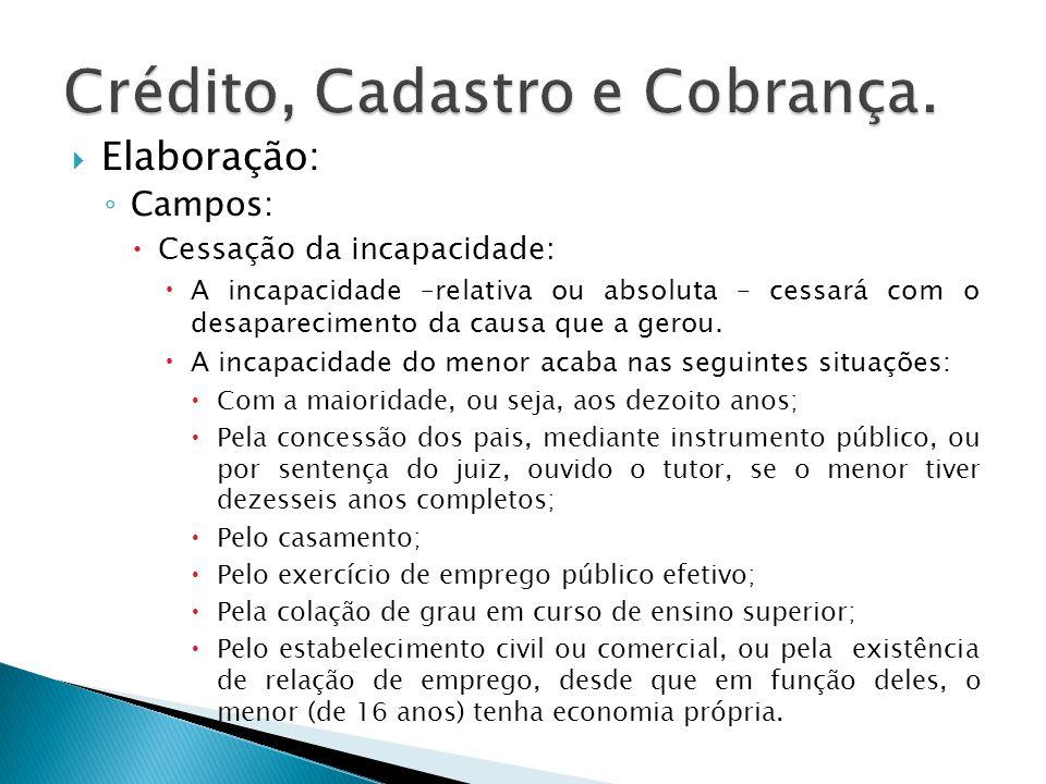 Elaboração: Campos: Cessação da incapacidade: A incapacidade –relativa ou absoluta – cessará com o desaparecimento da causa que a gerou. A incapacidad