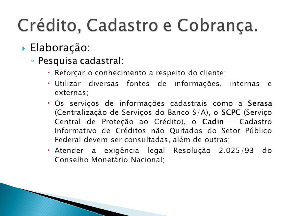 Elaboração: Pesquisa cadastral: Reforçar o conhecimento a respeito do cliente; Utilizar diversas fontes de informações, internas e externas; Os serviç