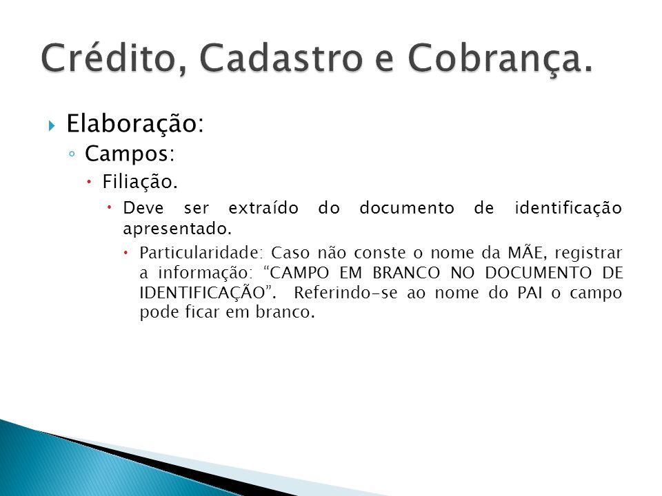 Elaboração: Campos: Filiação. Deve ser extraído do documento de identificação apresentado. Particularidade: Caso não conste o nome da MÃE, registrar a