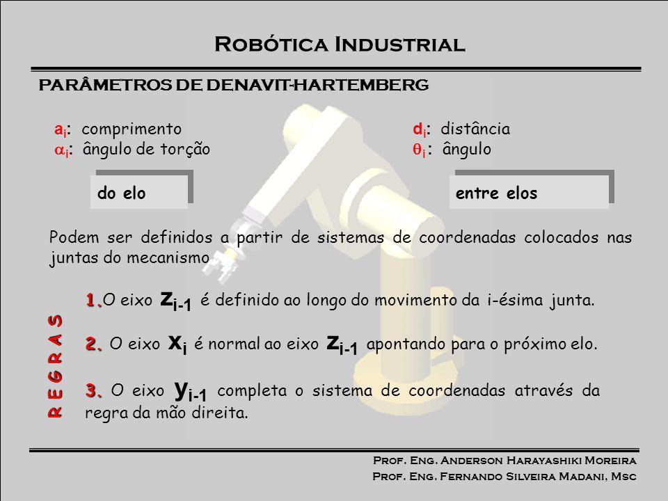 Prof. Eng. Anderson Harayashiki Moreira Prof. Eng. Fernando Silveira Madani, Msc Robótica Industrial d i : distância i : ângulo a i : comprimento i :