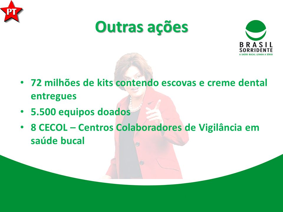 Outras ações 72 milhões de kits contendo escovas e creme dental entregues 5.500 equipos doados 8 CECOL – Centros Colaboradores de Vigilância em saúde bucal