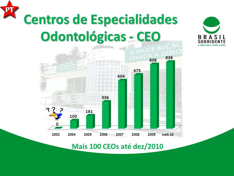 Centros de Especialidades Odontológicas - CEO Mais 100 CEOs até dez/2010 ? ? ?