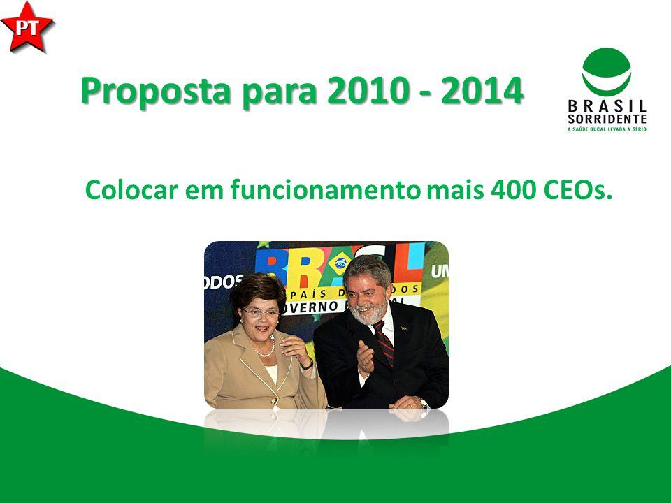 Proposta para 2010 - 2014 Colocar em funcionamento mais 400 CEOs.