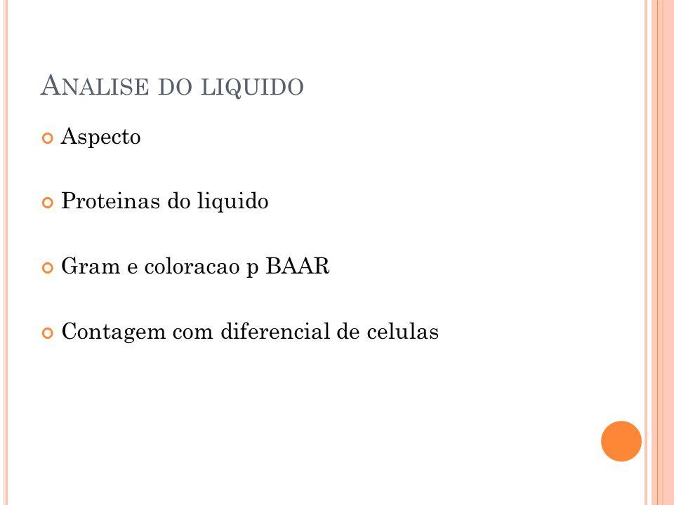 A NALISE DO LIQUIDO Aspecto Proteinas do liquido Gram e coloracao p BAAR Contagem com diferencial de celulas
