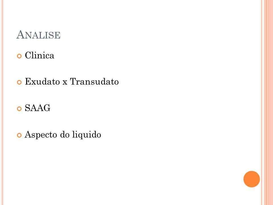 A NALISE Clinica Exudato x Transudato SAAG Aspecto do liquido