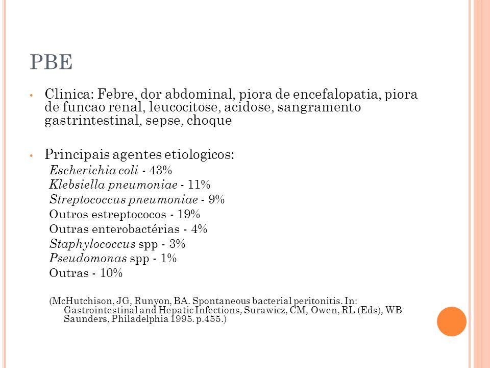 PBE Clinica: Febre, dor abdominal, piora de encefalopatia, piora de funcao renal, leucocitose, acidose, sangramento gastrintestinal, sepse, choque Pri