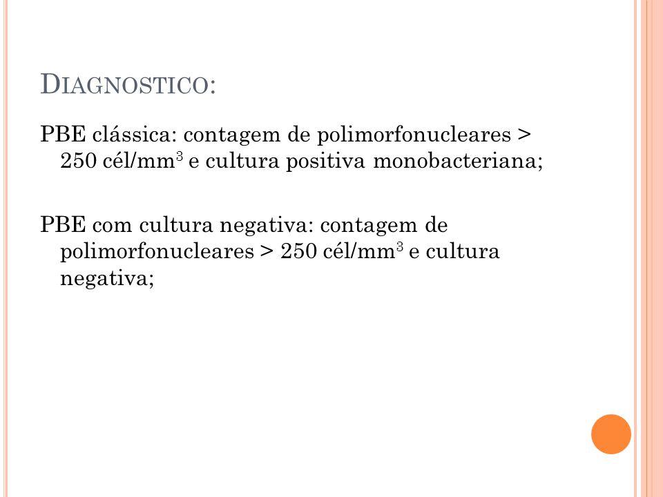 D IAGNOSTICO : PBE clássica: contagem de polimorfonucleares > 250 cél/mm 3 e cultura positiva monobacteriana; PBE com cultura negativa: contagem de po
