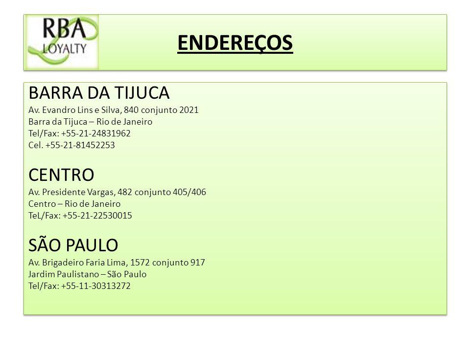 ENDEREÇOS BARRA DA TIJUCA Av.