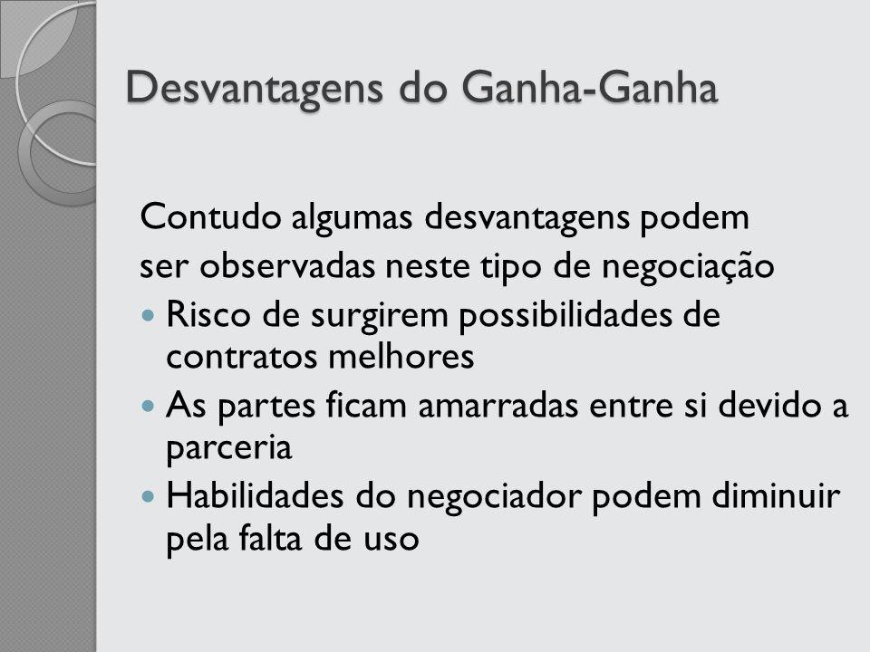 Desvantagens do Ganha-Ganha Contudo algumas desvantagens podem ser observadas neste tipo de negociação Risco de surgirem possibilidades de contratos m