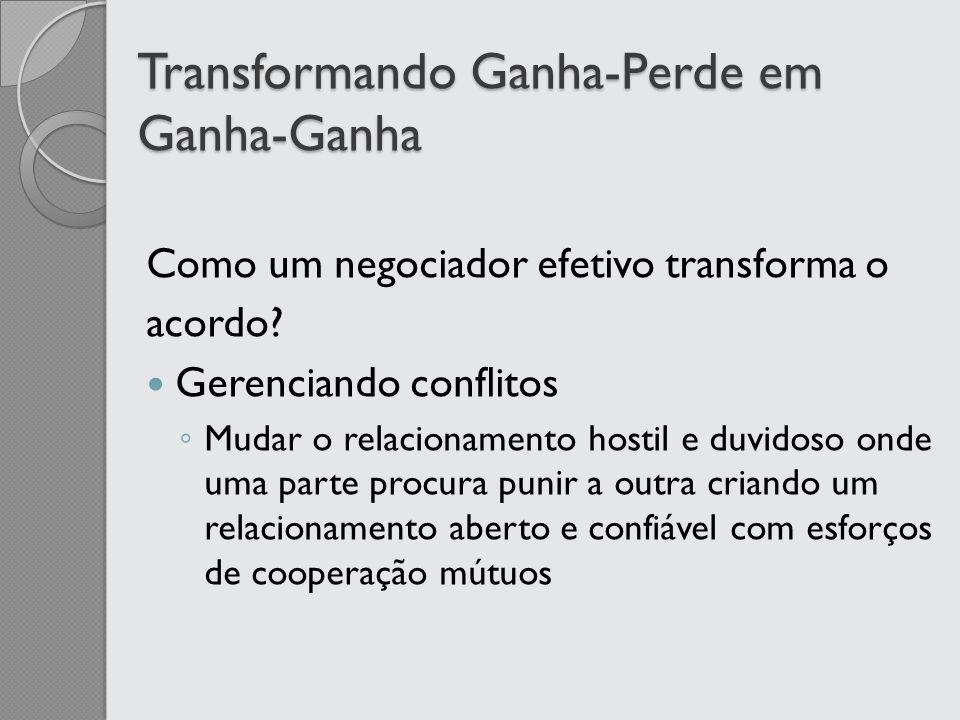 Transformando Ganha-Perde em Ganha-Ganha Como um negociador efetivo transforma o acordo? Gerenciando conflitos Mudar o relacionamento hostil e duvidos