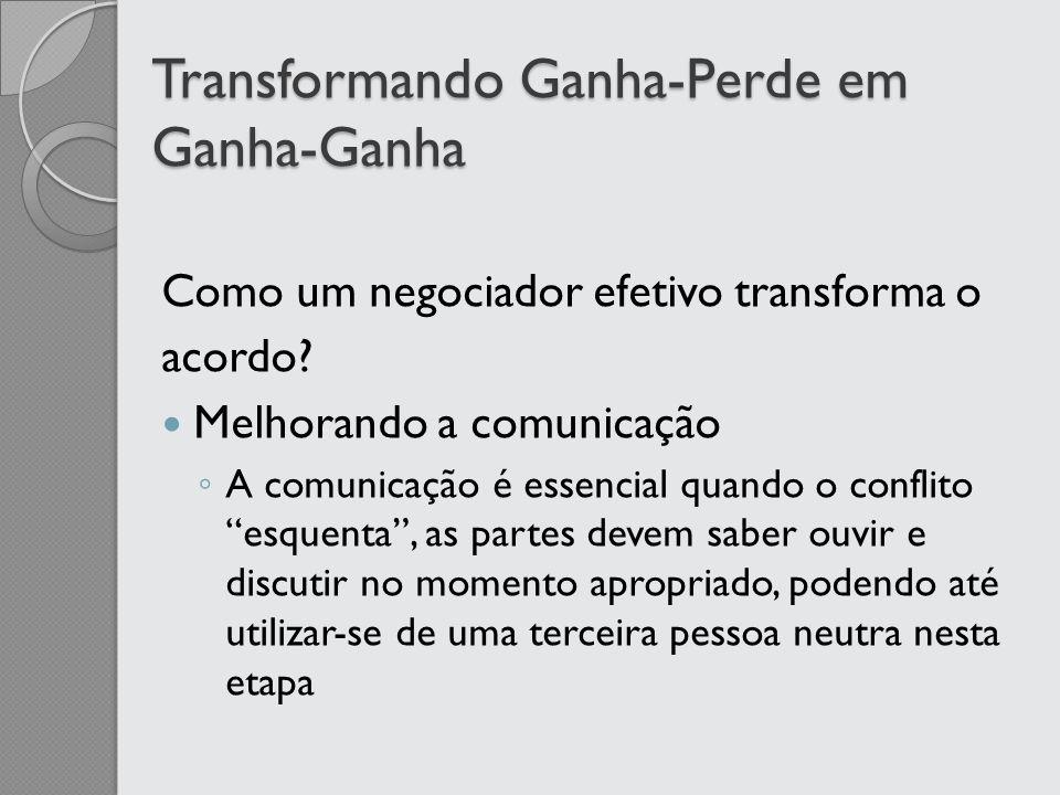Transformando Ganha-Perde em Ganha-Ganha Como um negociador efetivo transforma o acordo? Melhorando a comunicação A comunicação é essencial quando o c