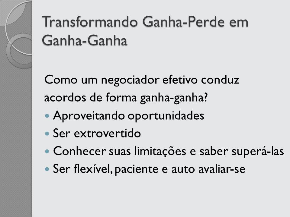 Transformando Ganha-Perde em Ganha-Ganha Como um negociador efetivo conduz acordos de forma ganha-ganha? Aproveitando oportunidades Ser extrovertido C