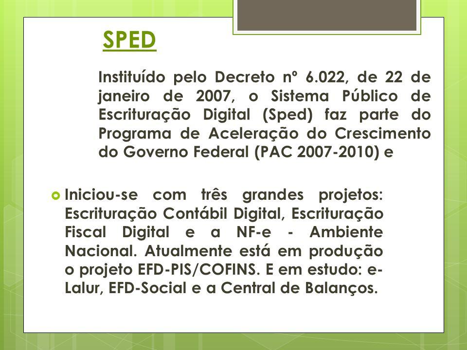 SPED Instituído pelo Decreto nº 6.022, de 22 de janeiro de 2007, o Sistema Público de Escrituração Digital (Sped) faz parte do Programa de Aceleração do Crescimento do Governo Federal (PAC 2007-2010) e Iniciou-se com três grandes projetos: Escrituração Contábil Digital, Escrituração Fiscal Digital e a NF-e - Ambiente Nacional.