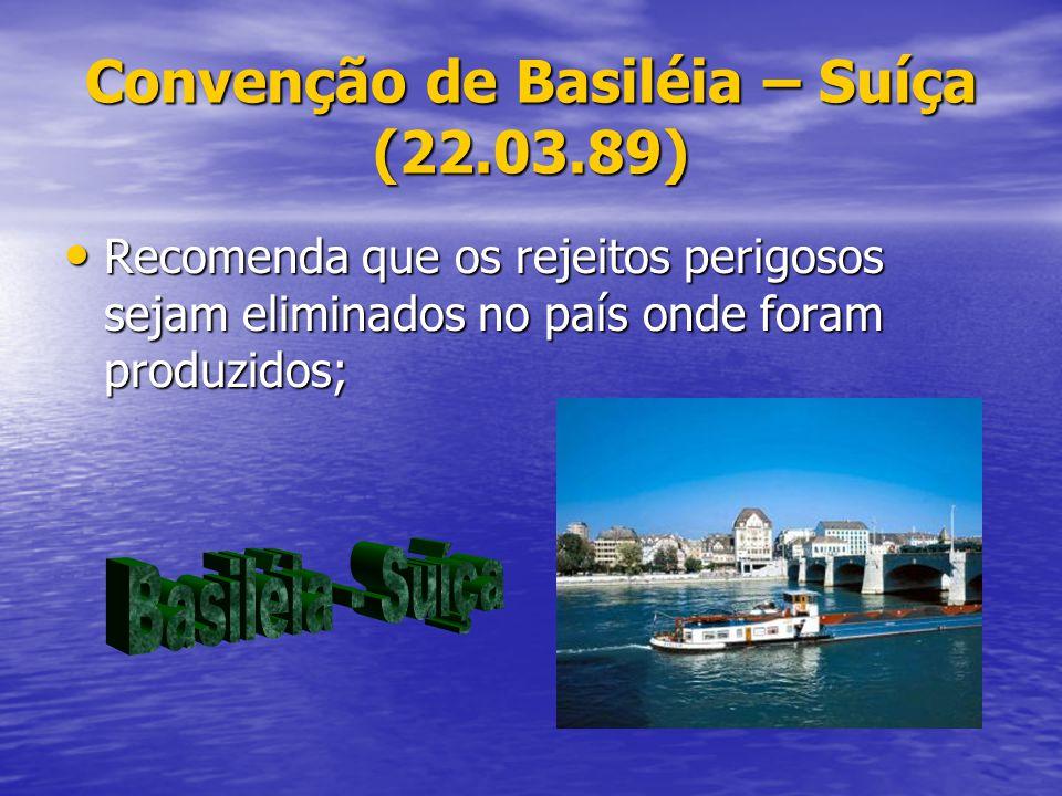 Convenção de Basiléia – Suíça (22.03.89) Recomenda que os rejeitos perigosos sejam eliminados no país onde foram produzidos; Recomenda que os rejeitos
