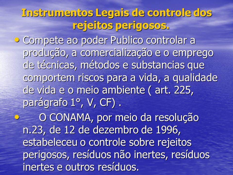 Instrumentos Legais de controle dos rejeitos perigosos. Compete ao poder Publico controlar a produção, a comercialização e o emprego de técnicas, méto