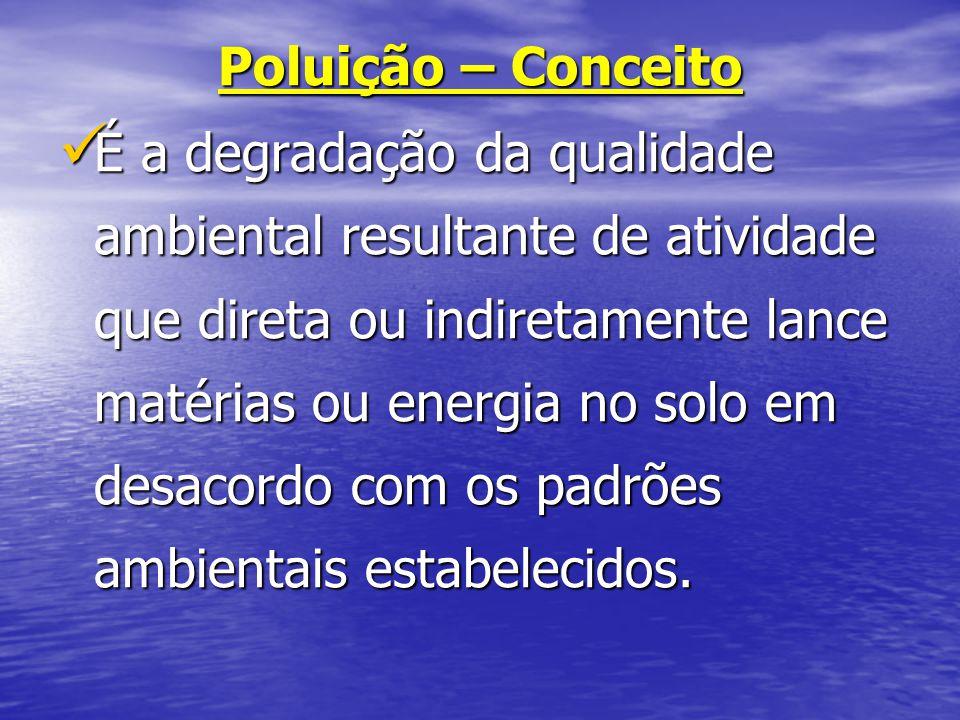Poluição – Conceito É a degradação da qualidade ambiental resultante de atividade que direta ou indiretamente lance matérias ou energia no solo em des