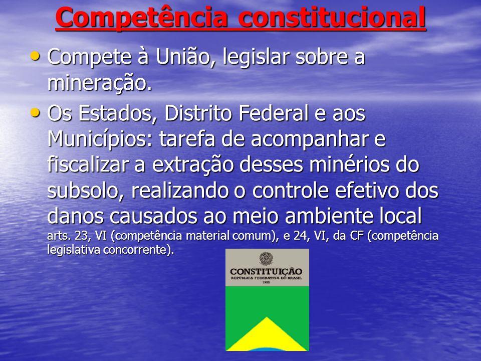 Competência constitucional Compete à União, legislar sobre a mineração. Compete à União, legislar sobre a mineração. Os Estados, Distrito Federal e ao
