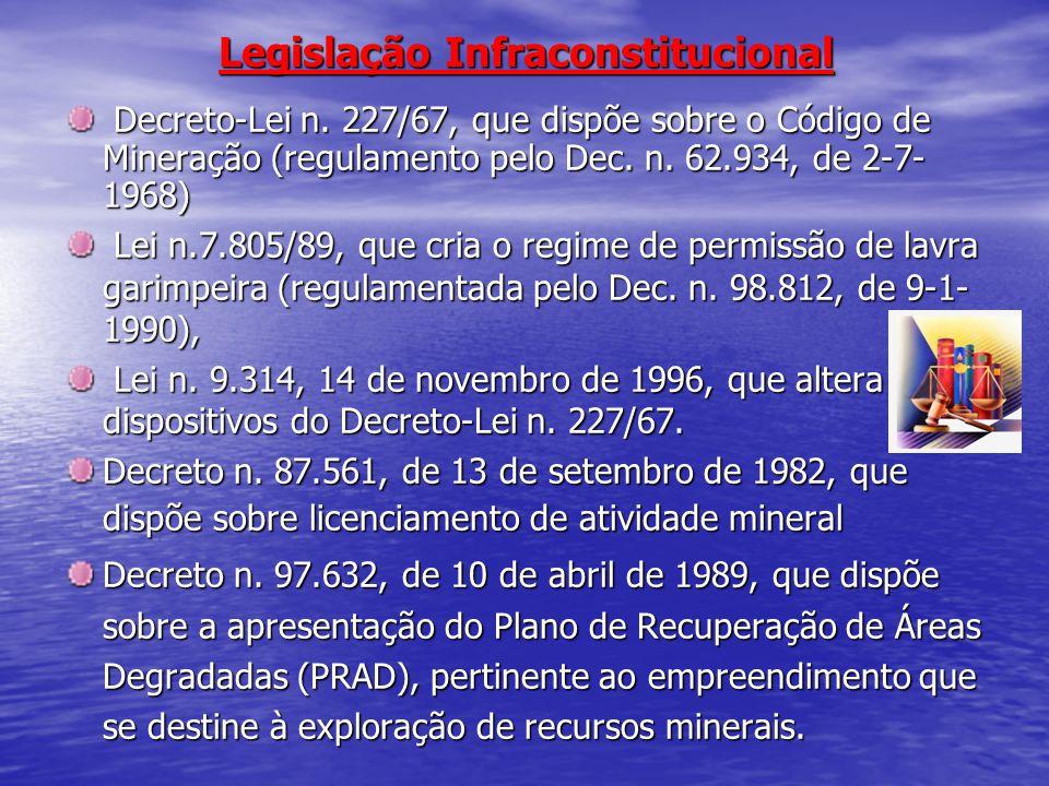 Legislação Infraconstitucional Decreto-Lei n. 227/67, que dispõe sobre o Código de Mineração (regulamento pelo Dec. n. 62.934, de 2-7- 1968) Decreto-L