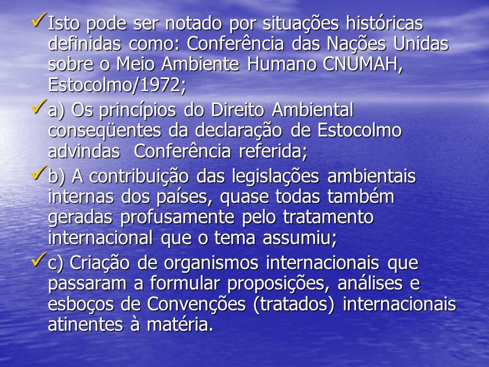 Isto pode ser notado por situações históricas definidas como: Conferência das Nações Unidas sobre o Meio Ambiente Humano CNUMAH, Estocolmo/1972; Isto