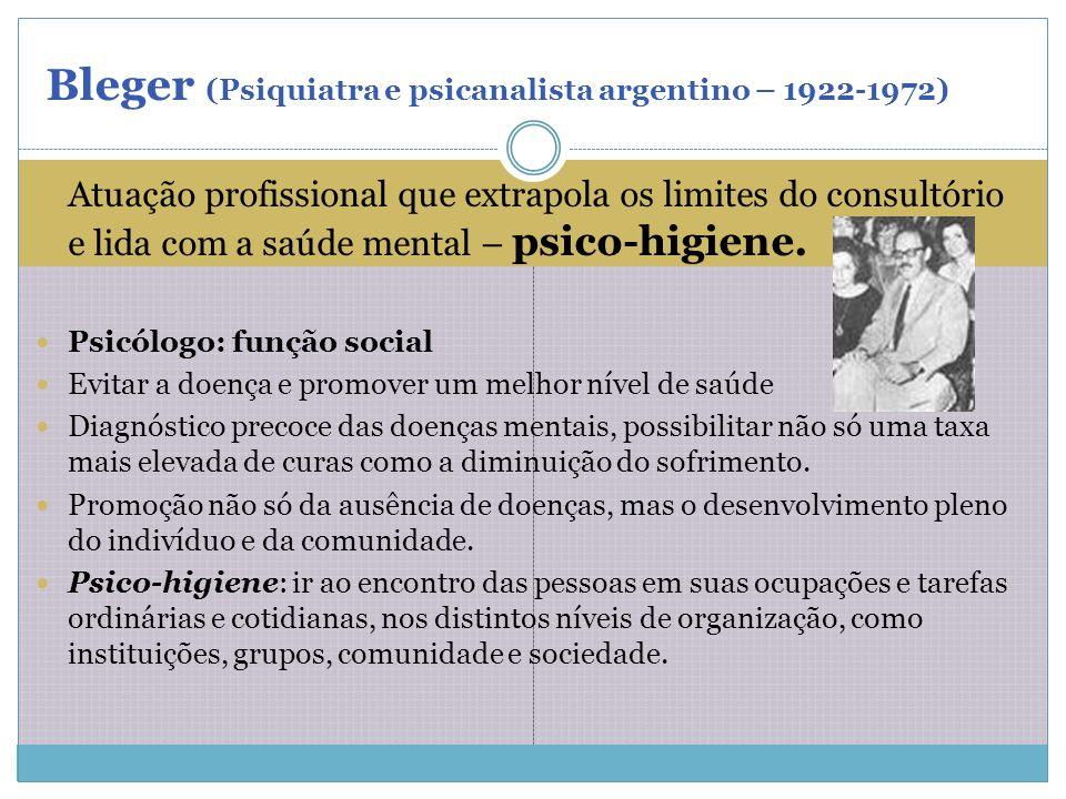 Atuação profissional que extrapola os limites do consultório e lida com a saúde mental – psico-higiene. Psicólogo: função social Evitar a doença e pro