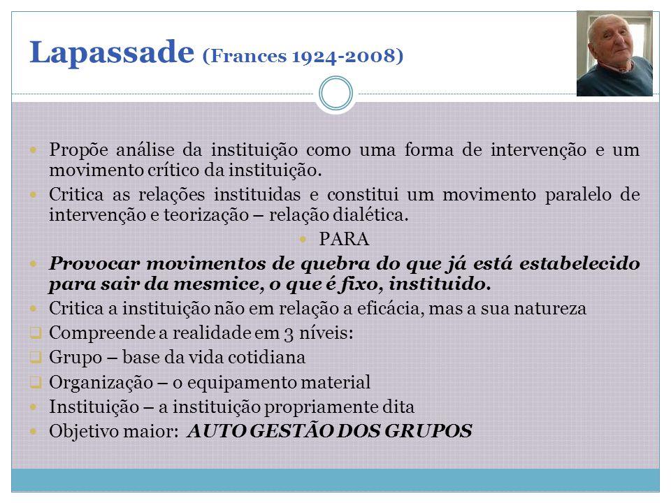 Lapassade (Frances 1924-2008) Propõe análise da instituição como uma forma de intervenção e um movimento crítico da instituição. Critica as relações i