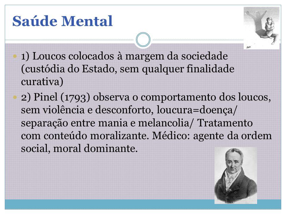 1) Loucos colocados à margem da sociedade (custódia do Estado, sem qualquer finalidade curativa) 2) Pinel (1793) observa o comportamento dos loucos, s