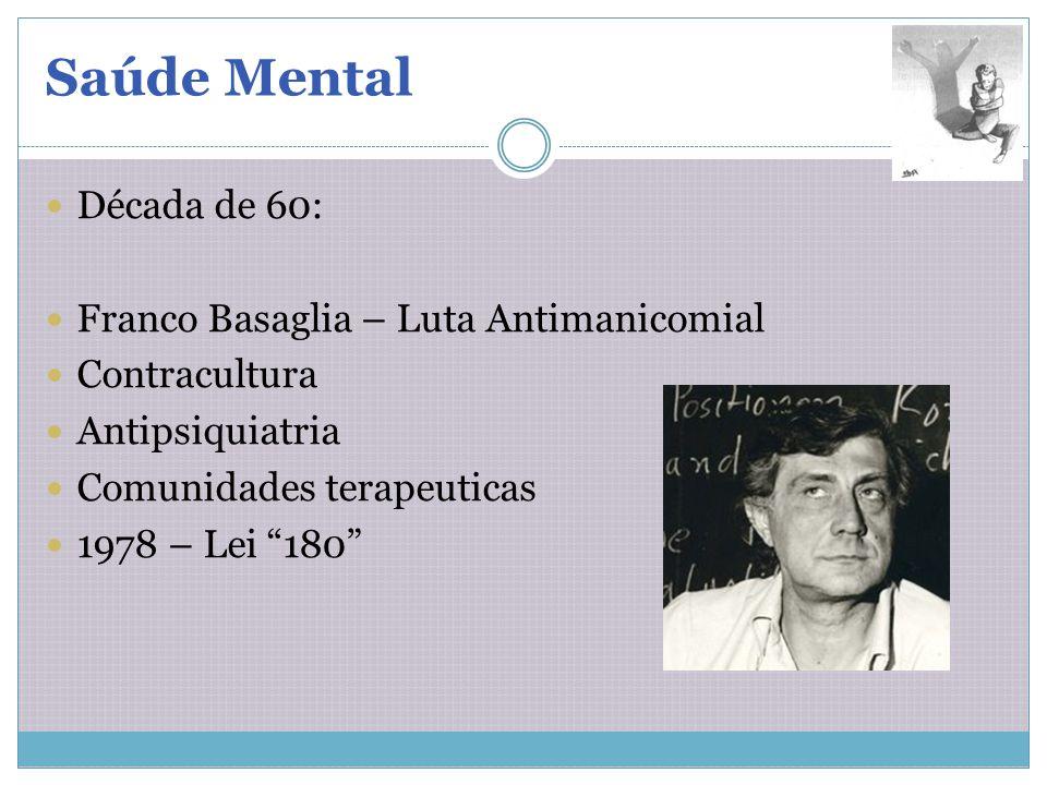 Saúde Mental Década de 60: Franco Basaglia – Luta Antimanicomial Contracultura Antipsiquiatria Comunidades terapeuticas 1978 – Lei 180