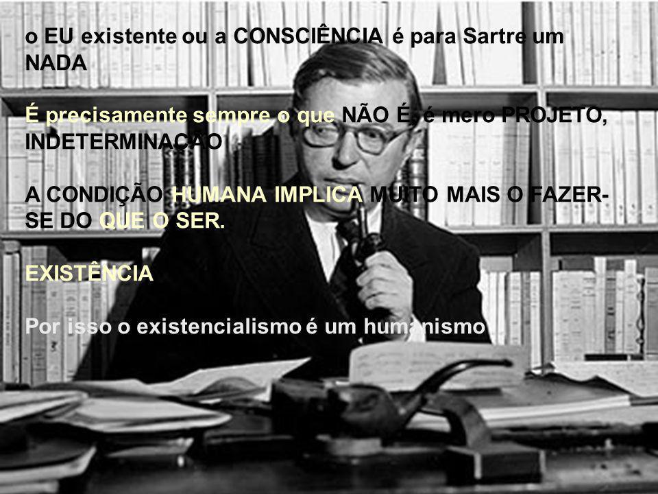o EU existente ou a CONSCIÊNCIA é para Sartre um NADA É precisamente sempre o que NÃO É, é mero PROJETO, INDETERMINAÇÃO A CONDIÇÃO HUMANA IMPLICA MUITO MAIS O FAZER- SE DO QUE O SER.