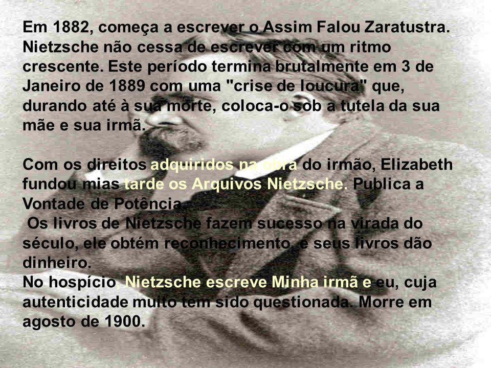 Em 1882, começa a escrever o Assim Falou Zaratustra.