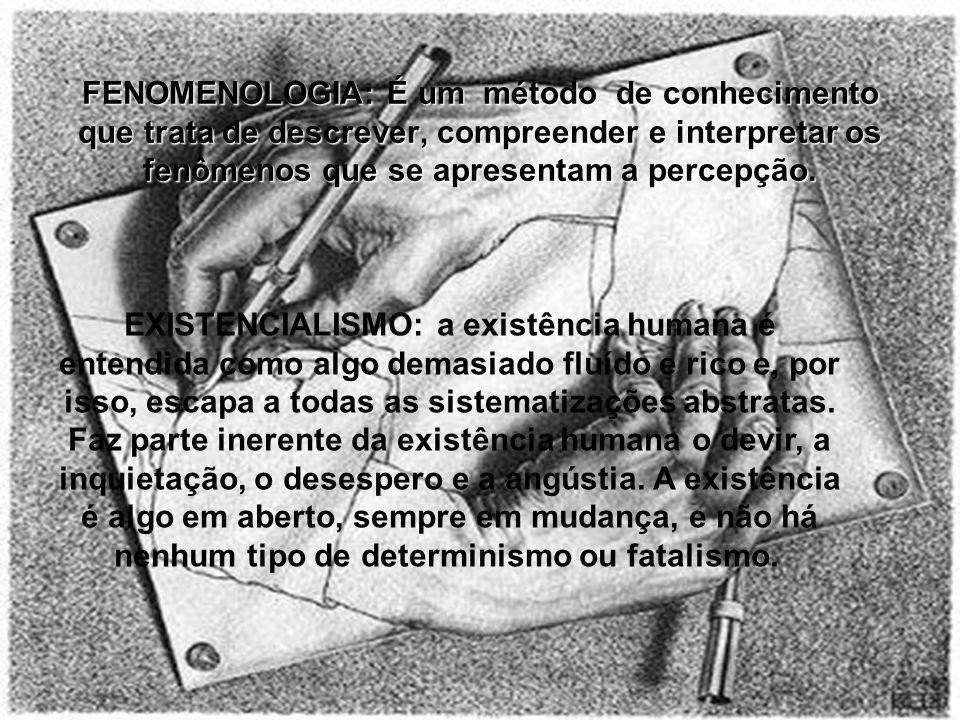 FENOMENOLOGIA: É um método de conhecimento que trata de descrever, compreender e interpretar os fenômenos que se apresentam a percepção.