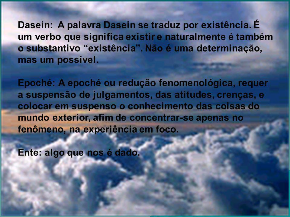Dasein: A palavra Dasein se traduz por existência.