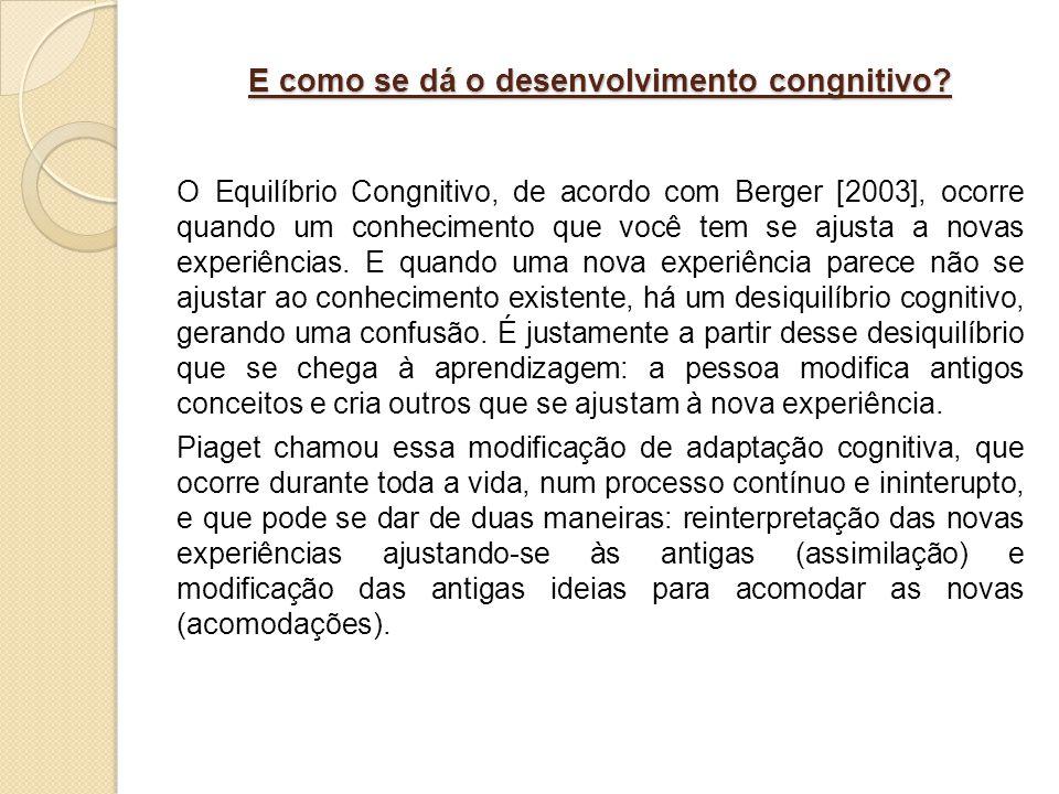 E como se dá o desenvolvimento congnitivo? O Equilíbrio Congnitivo, de acordo com Berger [2003], ocorre quando um conhecimento que você tem se ajusta