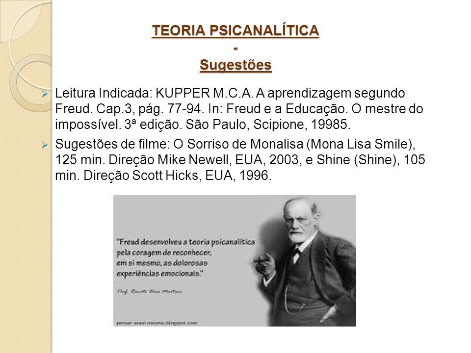 TEORIA PSICANALÍTICA - Sugestões Leitura Indicada: KUPPER M.C.A. A aprendizagem segundo Freud. Cap.3, pág. 77-94. In: Freud e a Educação. O mestre do