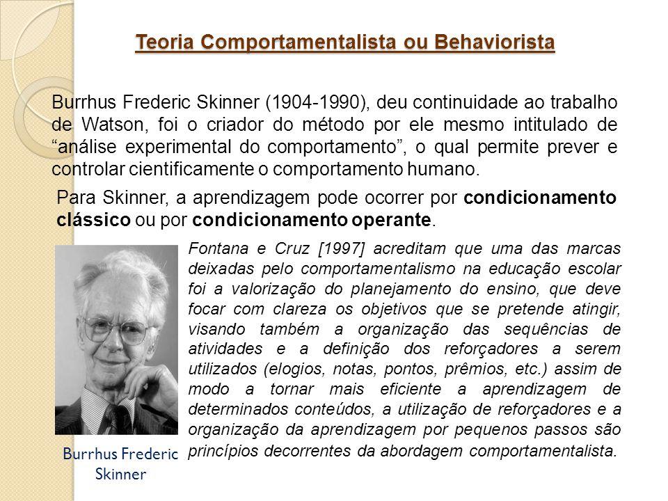 Teoria Comportamentalista ou Behaviorista Burrhus Frederic Skinner (1904-1990), deu continuidade ao trabalho de Watson, foi o criador do método por el