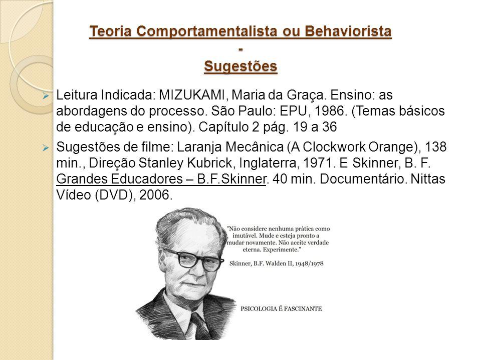 Teoria Comportamentalista ou Behaviorista - Sugestões Leitura Indicada: MIZUKAMI, Maria da Graça. Ensino: as abordagens do processo. São Paulo: EPU, 1