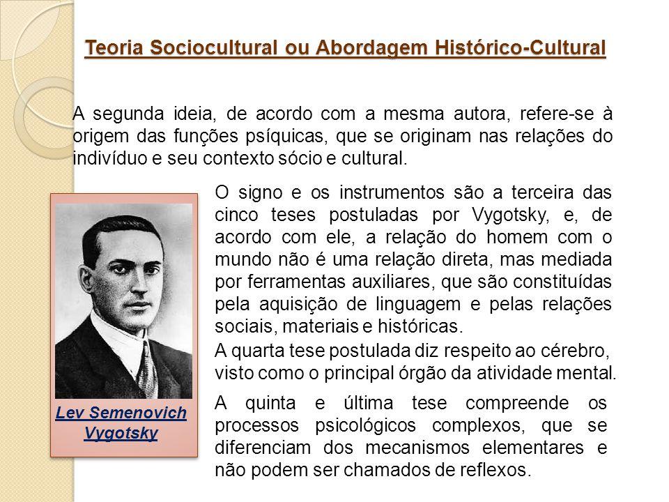 Teoria Sociocultural ou Abordagem Histórico-Cultural A segunda ideia, de acordo com a mesma autora, refere-se à origem das funções psíquicas, que se o